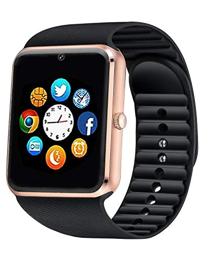 Bluetooth Smart Watch Android iOS Support SIM Card Slot Camera Touch Screen Smartwatch, Fitness Tracker Watch with Sleep Monitor Pedometer Watch for Women Kids Men (Golden)