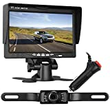 LeeKooLuu Backup Camera and 7' Monitor System for Car/SUV/Van/Pickup Truck/RV/Trailer Single Power Rear/Side/Front View System Reversing/Driving Use IP68 Waterproof Night Vision Guide Lines ON/Off