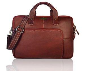 Leaderachi Brown 100% Genuine Leather 15 inch Laptop Messenger Briefcase Bag [ Despacito ] Summer Sale Special