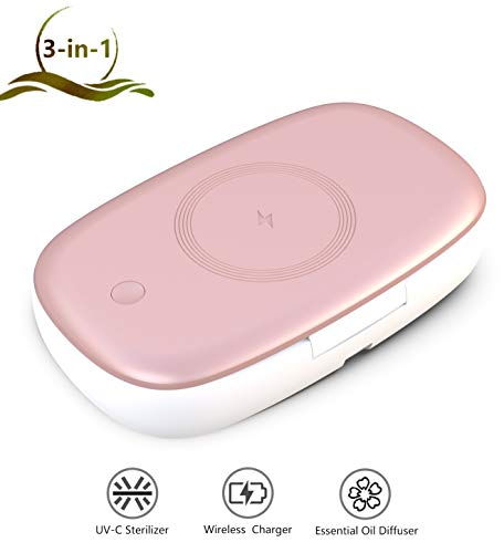 ProFaster Cell Phone UV-C Sanitizer, 3-in-1 Medical Grade Mobile Phone Sterilizer, Eliminates Bacteria&Germs - Fast Wireless Charger Works with iPhone Samsung or other Qi-enabled Devices, Rose-gold