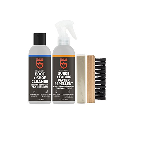 Gear Aid Revivex Suede and Fabric Boot Care Kit with Spray, Cleaner, Brush and Eraser