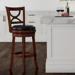 "Lavish Home (Brown Swivel High Back Stool-29"" Counter or Bar Height-360 Degree Rotating Seat, Faux Leather, Solid Dark…"