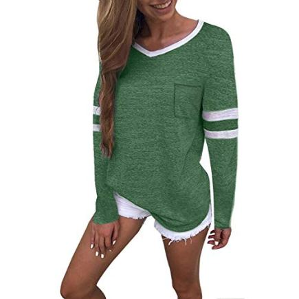 Green-Women-Long-Sleeve-Shirts-V-Neck-Color-Block-Stripe-Patchwork-Tunic-Tee-Tops-S-611Green
