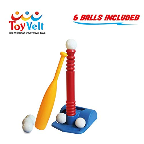 T-Ball Set for Toddlers, Kids, - Baseball Tee Game Includes 1 Bat, 6 Balls, Adjustable T Height - Adapts with Your Child's Growth Spurts - Improves Batting Skills - for Boys & Girls Age 3-12 Yrs Old