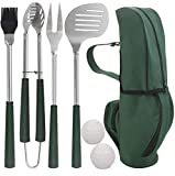 POLIGO 7pcs Golf-Club Style BBQ Grill Tool Set - Stainless Steel BBQ Accessories in Golf-Club Style Bag for Camping - Premium Grilling Utensils Ideal Gifts Set on Birthday Father's Day for Dad Men
