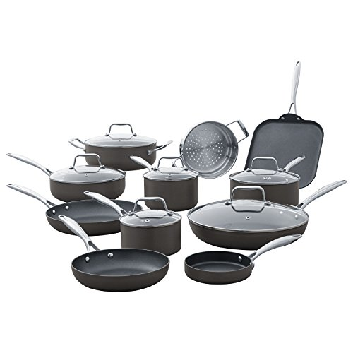 Stone & Beam Kitchen Cookware Set, 17-Piece, Pots and Pans, Hard-Anodized Non-Stick Aluminum