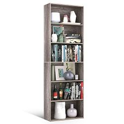 Homfa Bookshelf 70 in Height, Bookcase 6 Shelf Free Standing Display Storage Shelves Standard Organization Collection Decor Furniture for Living Room Home Office, Dark Oak