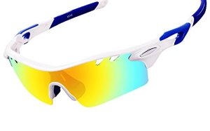 Ewin E01 Polarized Sports Sunglasses with 3 Interchangeable Lenses for Men Women Golf Baseball Volleyball Fishing Cycling Driving Running Glasses(White&Blue)