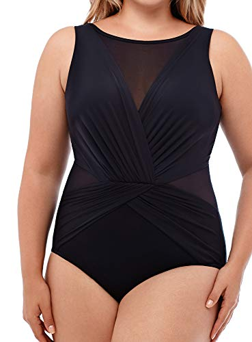 51tpEg NPWL Look 10 lbs. lighter in 10 seconds® with Miraclesuit. Body: 69% Nylon, 31% Lycra Spandex; Drape: 82% Nylon, 18% Lycra Spandex High neckline with soft cup bra offers gentle support and is ideal for larger bust sizes. Fixed straps stay firmly in place and won't dig in or slide down. The moderate leg cut elongates and slims your legs. Tummy looks flatter and smoother thanks to the shirring detail, which minimizes extra pounds around your waistline.