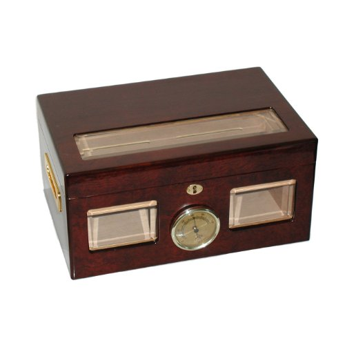 Quality Importers Versailles 100 Cigar Glass Top Humidor, High Gloss Cherry Finish