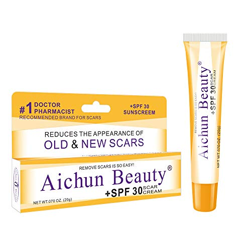 Ai chun Scar repair cream Burn Scar Removing Treatment - SPF 30 Scar Tissue Ointment - Scarring Gel - Ideal for Acne Scars, Surgery Signs, Burns & Cuts - 0.7 oz Lightweight Derma Gel