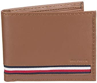 Tommy Hilfiger Men's Leather Bifold Wallet, Tan Zed, One Size 1