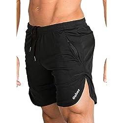 Ouber Men's Bodybuilding Lifting Gym Workout Sweat Shorts (Black,XL)