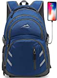 Backpack Bookbag for School College Student Laptop Travel Business with USB Charging Port Laptop Compartment Luggage Straps Anti theft Night Light Reflective (Blue)