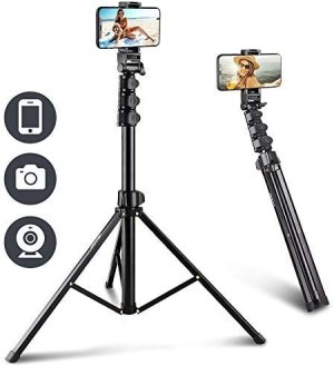 "UBeesize 67"" Phone Tripod Stand & Selfie Stick Tripod, All in One Professional Cell Phone Tripod, Cellphone Tripod with Bluetooth Remote and Phone Holder, Compatible with All Phones/ Cameras"