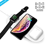Quezqa Wireless Charging Pad - 3 in 1 Portable Wireless Charging Station - 10W Qi Fast Wireless Charger Mat Compatible with Airpods Apple Watch Series 1 2 3 4 iPhone Xs Max Xr X 8 Plus Samsung S10 S9