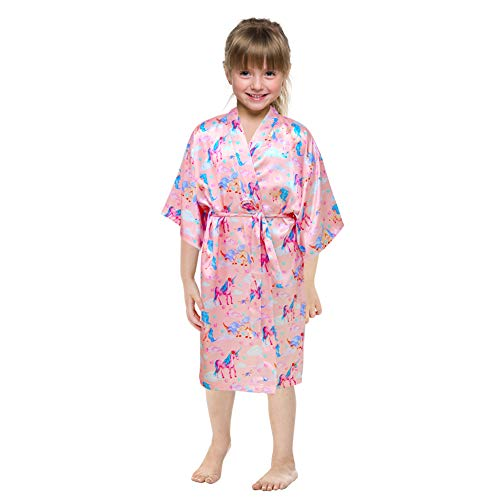 Beinou Kimonos Robe Pink Unicorn Robes Girls Satin Sleepwear Soft Shower Robe