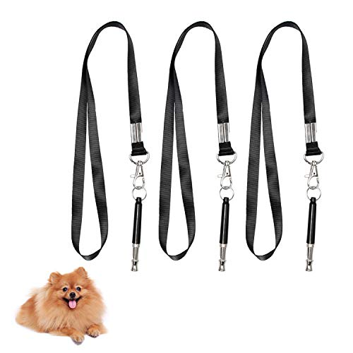 REKOBON Dog Whistle,Dog Training Whistle to Stop Barking, Adjustable Frequency Ultrasonic Sound Training Tool Dog Bark Control with Free Premium Quality Lanyard - Pack of 3 Pet Whistle 1