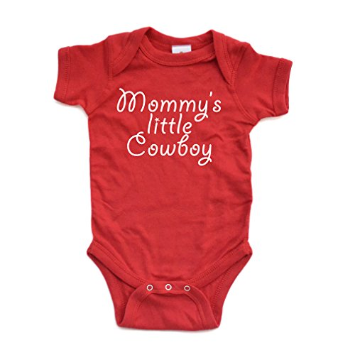 Mommy's Little Cowboy Adorable Cute Baby Soft Cotton Country Western Boy Creeper (6 Months, Red)