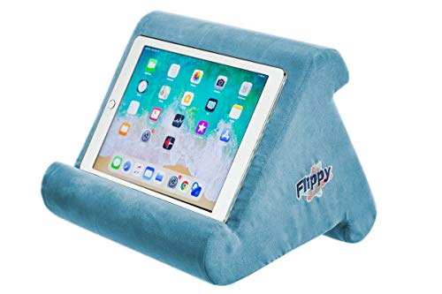 Flippy Multi-Angle Soft Pillow Lap Stand for iPads, Tablets, eReaders, Smartphones, Books, Magazines (Light Blue)