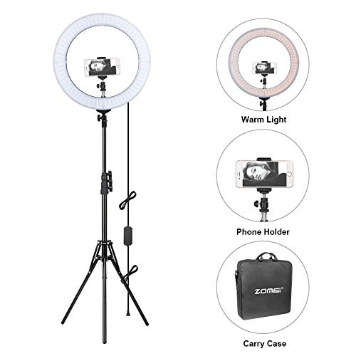 ZOMEi Dimmable Ring Light for Makeup, YouTube Video, Selfie Photography