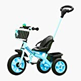 lesgos Baby Tricycle with Push Handle, 3 in 1 Push and Ride Stroller Trike Bike with Storage Bin for Kids, Toddler, Birthday Gifts for 1 2 3 4 5 Years Old, Blue