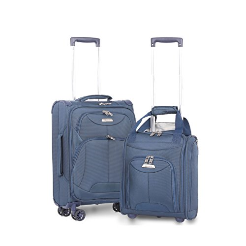 "Aerolite 21"" Inch Carry On Lightweight 4 Wheel Spinner Suitcase & 16"" Under Seat Bag Set (Navy)"