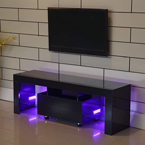 Holarose Black Tv Stand With Led Lights 51 Inch Tv Cabinet