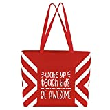 Large Teacher Tote Bags - Perfect for Work, Gifts for Teachers, Teacher Appreciaiton Day (Wake Up Teach Red Geo)