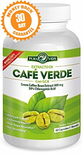 Green Coffee Bean Extract with GCA | Extracto de Café Verde con GCA: Pure Natural Appetite Suppressant - 50% Chlorogenic Acid. 60 Veggie Capsules of 800mg