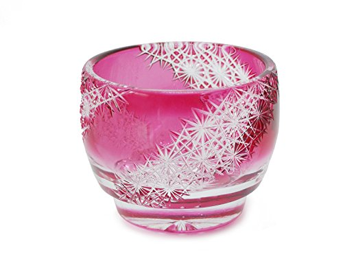 Ohba Glass Cut Glass 江戸切子 Edo Kiriko, Japanese Traditional Craft in Gift Box 光る宙 Milky Way (Red)