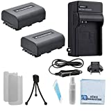2 NP-FH50 Batteries, AC/DC Charger for Home/Car Bundle for Sony DCR-HC20, HC21, HC26, HC28, HC30 HC32 HC36 HC38 HC40 HC42 HC46 HC48 HC65 HC85 HC96 Camera Handycam and Many more + eCostConnection Kit
