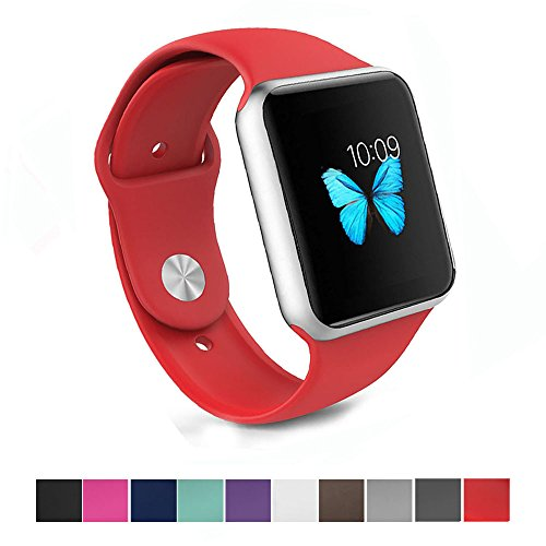 Apple Watch Band - e6Hope Soft Silicone Replacement iWatch Strap for Apple Watch Series 1,Series 2 (Red, 38mm - S/M)