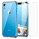 iPhone XR Clear Case & Screen Protector | 2 in 1 Bundle Package | Tempered Glass Screen Protector | Crystal Clear Transparent Soft Case | Shockproof Bumpers | Slim Fit | Protective Accessories Cover
