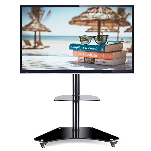 Rfiver Mobile TV Floor Stand/Cart with Shelves and Lockable Caster Wheels for Most of 32'-65' TVs,Curved Glass TV Floor Stand with Swivel Mount Bracket and Height Adjustment TF4001