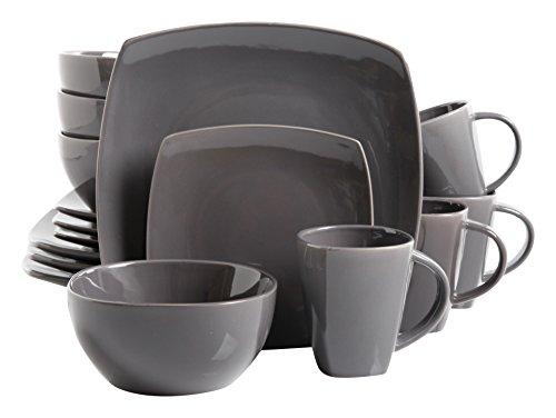 Gibson Home 16 Piece Soho Lounge Soft Square Dinnerware Set with Reactive Glaze Stoneware, Grey