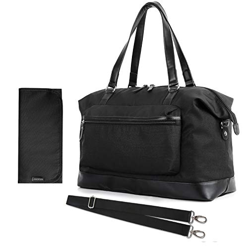 mommore Large Diaper Tote Bag Travel Duffel Bag for Mom and Dad with Changing Pad, Insulated Pockets, Black