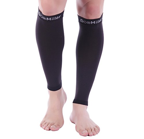 Doc Miller Premium Calf Compression Sleeve 1 Pair 20-30mmHg Strong Calf Support Fashionable Colors Graduated Pressure for Sports Running Muscle Recovery Shin Splints Varicose Veins (Black, Large)