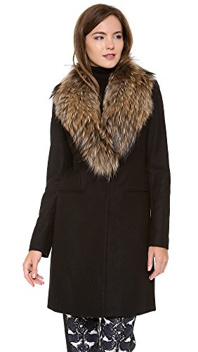 Italian Wool Blend Fabric Nautral Raccoon Fur Collar and Lapel Single Breasted Two Snap Button Down Closure