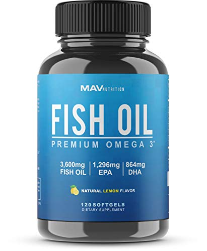 Premium Fish Oil Omega 3 - Max Potency - 3,600mg + 1,296mg Epa + 864mg DHA + Immune Support + Heart & Brain Health + Joint & Skin Support + Burpless + Natural Lemon Flavor, 120 Capsules per Serving