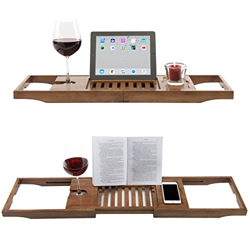 Luxury Dark Walnut Brown Bathtub Caddy, Natural Premium Bamboo Bath Tub Tray with Extending Sides, Reading Rack, Wine Glass, Book and Tablet Holder