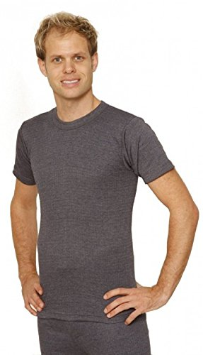 Octave 3 Pack Mens Thermal Underwear Short Sleeve T-Shirt/Vest/Top (Medium: Chest 36-38 inches, Charcoal)