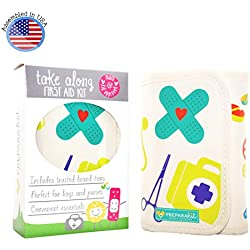 PreparaKit Travel and Baby First Aid Kit - Mom First Aid Kits! Mini Compact Kit with 50 Essentials for Diaper Bag or Purse - Small First Aid Kit for Emergency, Camping, Hiking, Car, or Home [Kid Joy]