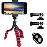 Phone Tripod, PEYOU [5 in 1] Octopus Portable Tripod Stand + Mount Holder Compatible for Gopro Phone + Bluetooth Wireless Remote Compatible for iPhone XS Max XR X 8 7 6 Plus,Galaxy Note 9 8 S9 S8 Plus