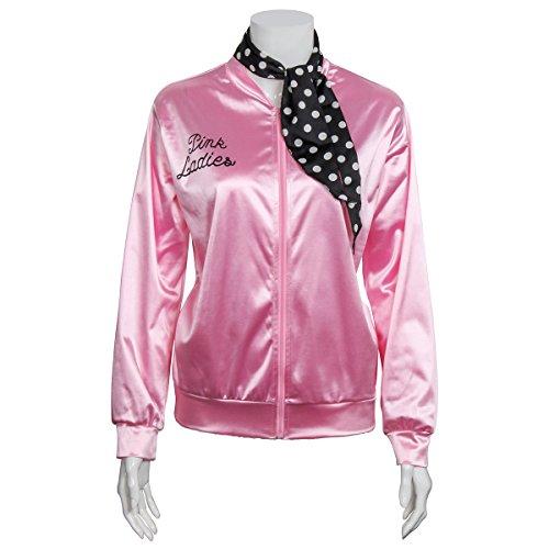 Ladies 1950s Pink Satin Grease Jacket With Neck Scarf T Bird Women Danny Halloween Costume Fancy Dress (Medium)