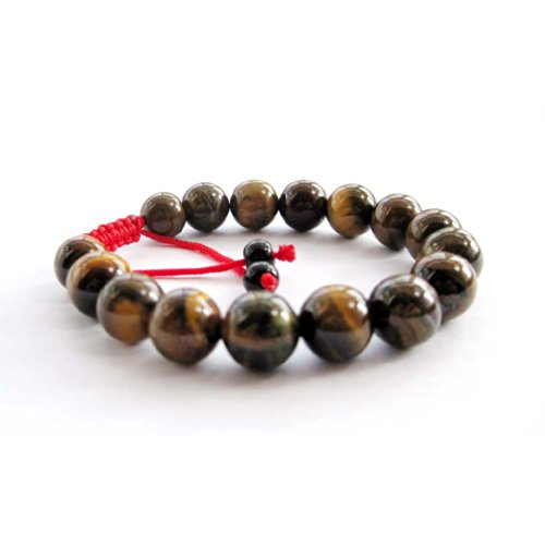 Tiger Eye Gem Beads Tibetan Buddhist Prayer Mala Bracelet with Free Mala Bag