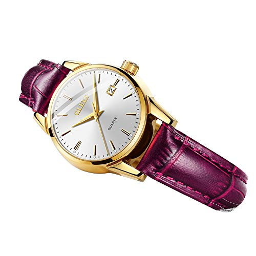 Girls New Fashion Minimalist Lovely Purple Leather Watches for Teenages Student, Women Watches with Date Waterproof Luminous Battery Quartz Movement, Soft Easy Read Time Clock Brand New 2019 OLEVS