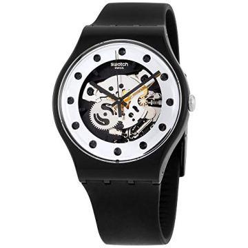 Swatch Unisex SUOZ147 Silver Glam Analog Display Quartz Black Watch