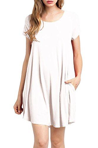 57e0237463e9 TINYHI Women's Casual Plain Fit Flowy Simple Swing T-Shirt Loose ...