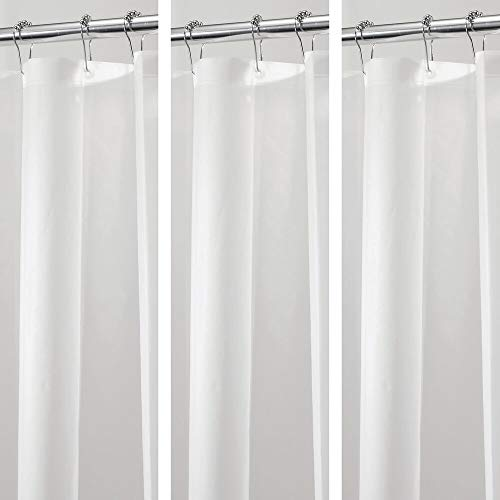 mDesign - 3 Pack - Waterproof, Mold/Mildew Resistant, Heavy Duty PEVA Shower Curtain Liner for Bathroom Showers and Bathtubs - No Odor, Chlorine Free - 3 Gauge, 72' x 72' - Clear